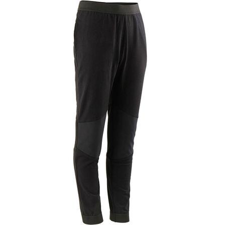 DOMYOS - 8-9Y Boys' Light Slim-Fit Durable Breathable Cotton Gym Bottoms 500 - Black
