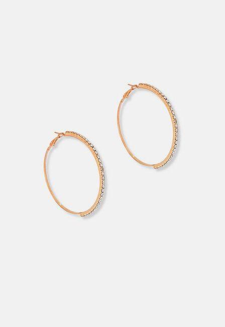 Missguided - Gold Gold Look Diamante Hoop Earrings