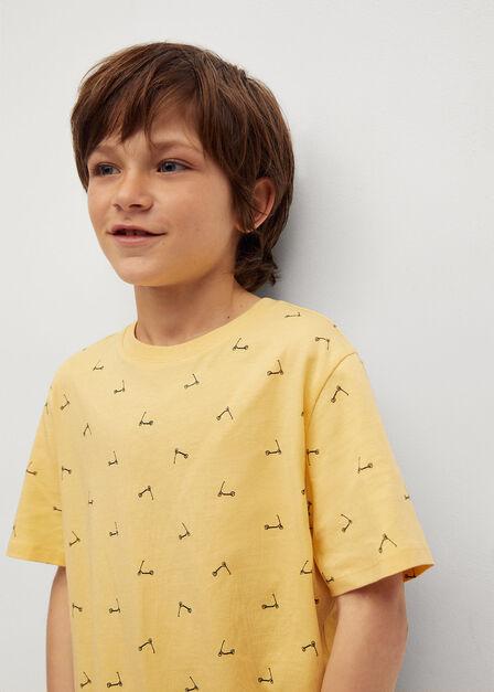 Mango - Yellow Boats Printed Cotton T-Shirt, Kids Boy