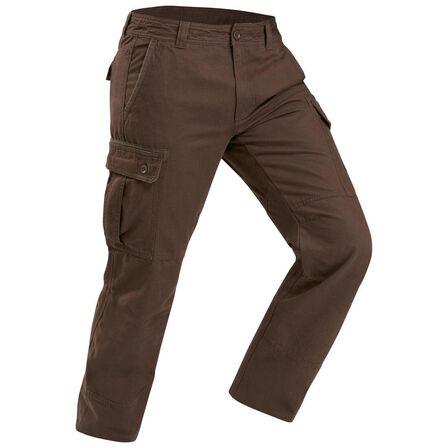 QUECHUA - Travel100 warm men's trekking pants - brown, W44 L34
