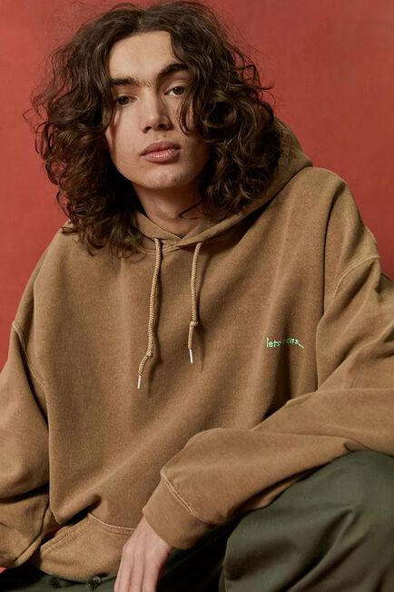 Urban Outfitters - Brown Iets Frans'.. Embroidered Logo Hoodie