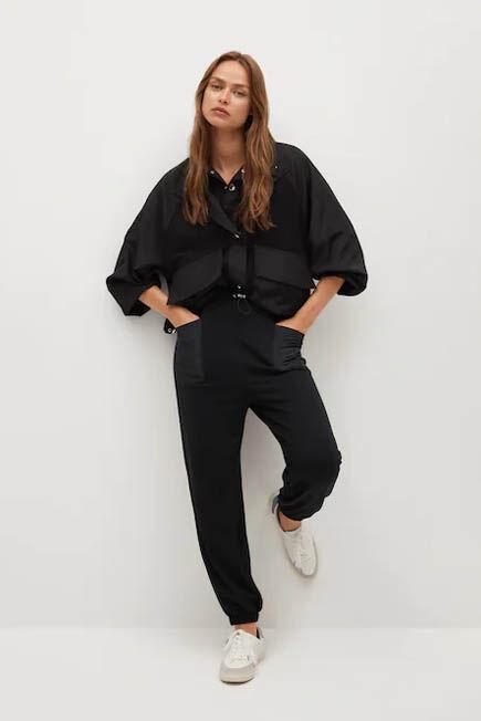 Mango - Black Elastic Waist Trousers, Women