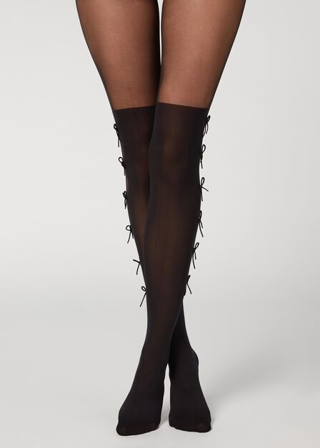 Calzedonia - BLACK Side Bow Longuette Effect Tights