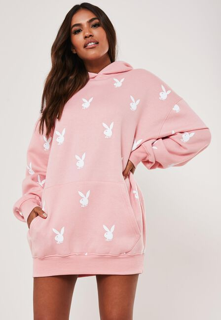 Missguided - Pink Playboy X Missguided Pink Extreme Oversized Repeat Print Hoodie Dress