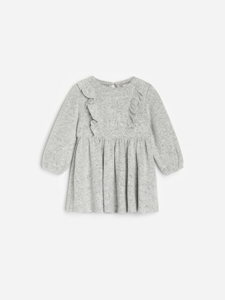 Reserved - Checked knitted dress - Light grey