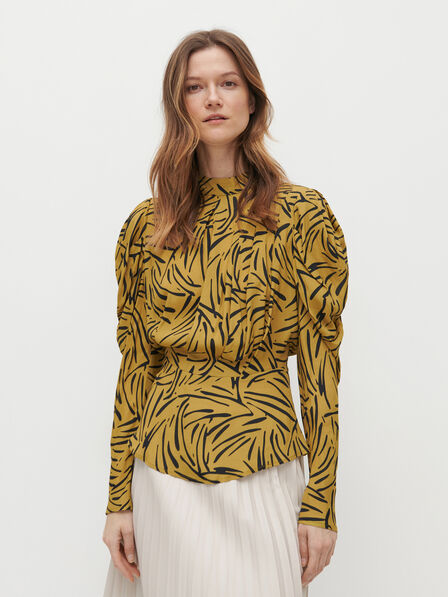 Reserved - Patterned blouse with puff sleeves - Multicolor