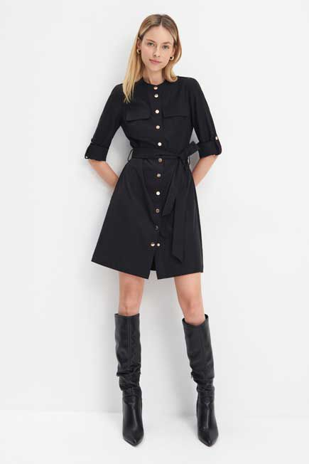 Mohito -  Shirt Dress With Tie - Black