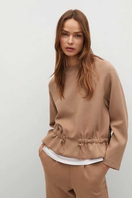 Mango - medium brown Sweater with ruffle detail