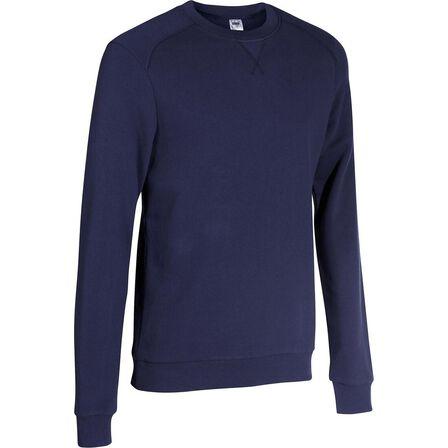 DOMYOS - S Men's Crew Neck Pilates & Gentle Gym Sweatshirt - Galaxy Blue