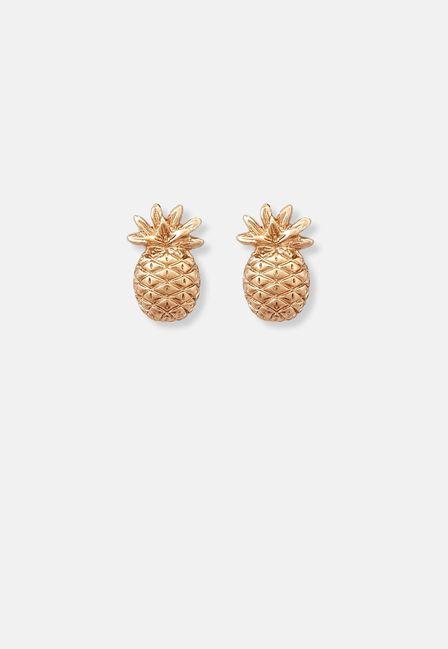 Missguided - Gold Pineapple Stud Earrings, Women
