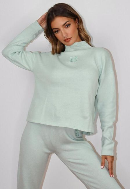 Missguided - Mint Co Ord Msgd High Neck Oversized Knitted Jumper