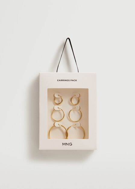 Mango - gold Mixed hoop earrings, Women