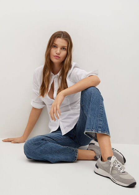 Mango - natural white Essential cotton-blend shirt
