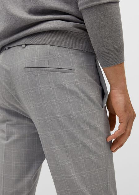 Mango - medium grey Super slim fit checked Tailored trousers, Men