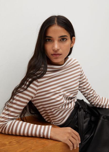 Mango - brown Long sleeve cotton t-shirt