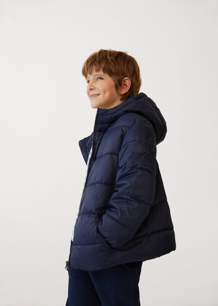 Mango - navy Hood quilted coat