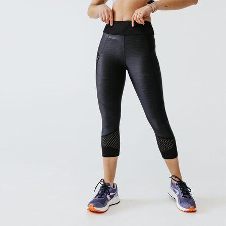 KALENJI - W30 L31 Run Dry+ Feel Women's Running Cropped Bottoms - Black