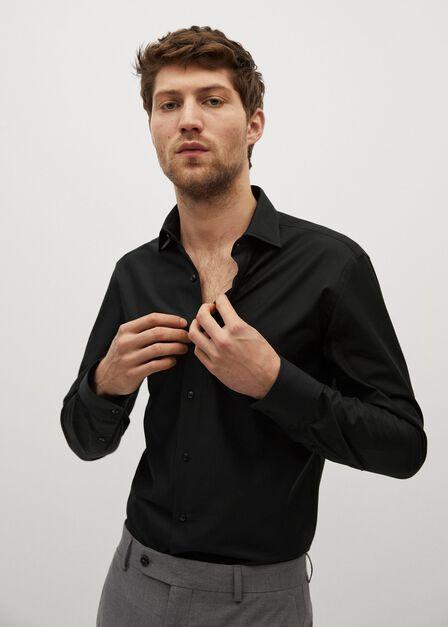 Mango - Black Slim fit Tailored cotton shirt