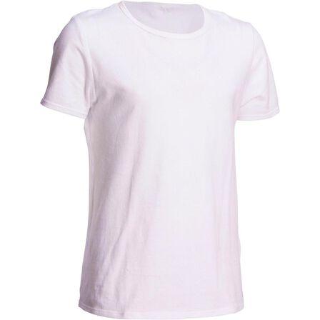 DOMYOS - 100 boys' short-sleeved gym t-shirt - white, 10-11Y