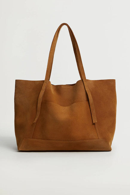Mango - Medium Brown Leather Shopper Bag