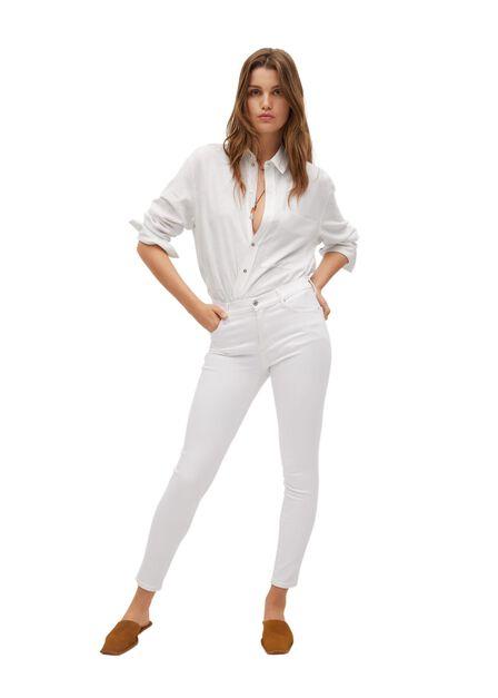 Mango - white Elsa medium-waist skinny jeans, Women