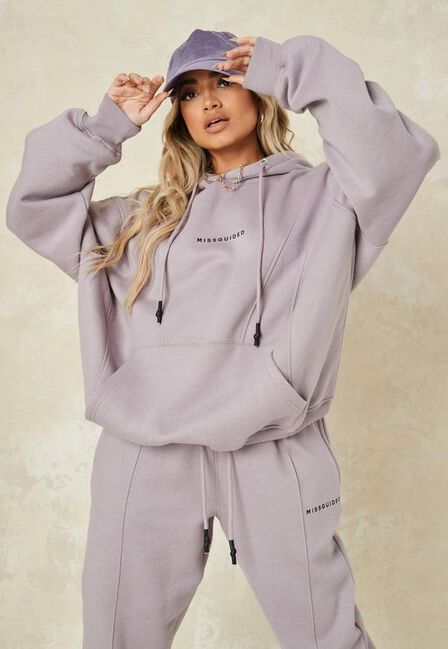 Missguided - Grey Super Extreme Oversized Missguided Seam Hoodie