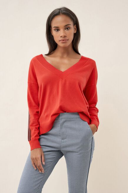 Salsa Jeans - Red Knitted sweater with band on arm