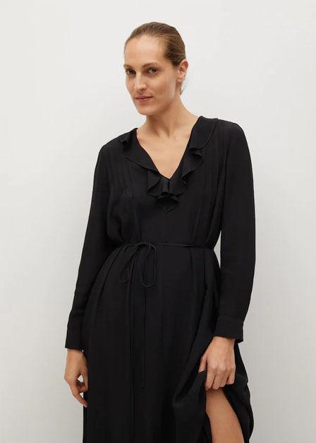 Mango - black Ruffled midi dress