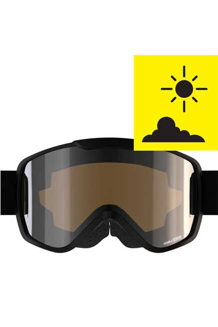 WED'ZE - L/XL  KID'S AND ADULT'S SKIING AND SNOWBOARDING GOGGLES G500 GOOD WEATHER, Black