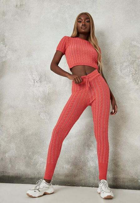 Missguided - Wine Pink Co Ord Cable Knit Top