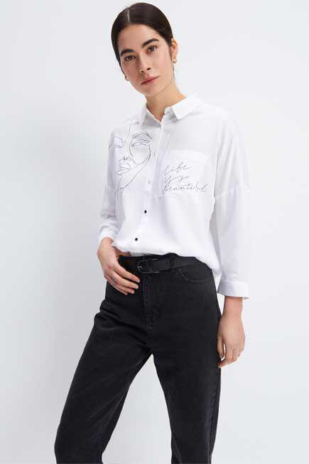 Mohito -  Viscose Shirt With Print - White