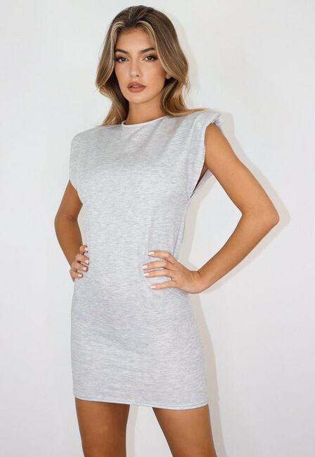 Missguided - Grey Padded Shoulder Sleeveless Mini Dress