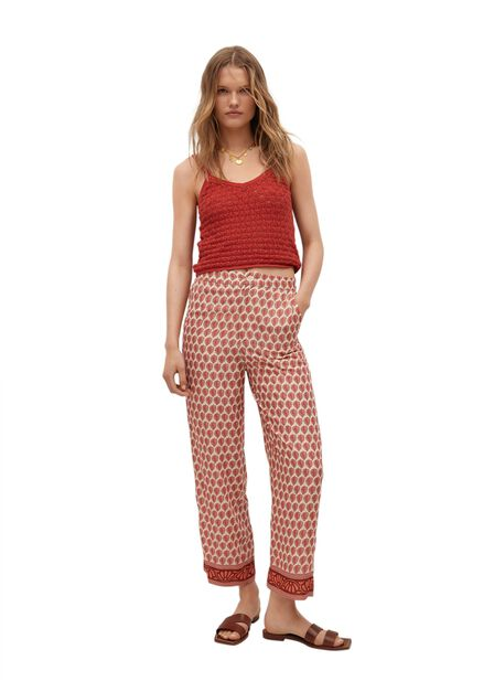 Mango - light beige Combi print trousers, Women