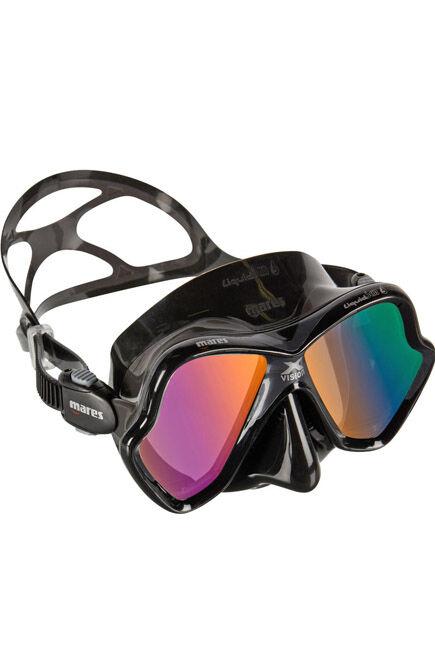 MARES - Unique Size X-Vision Liquid Skin Diving Mask - Black/Grey, Gold Mirror Lenses, Black