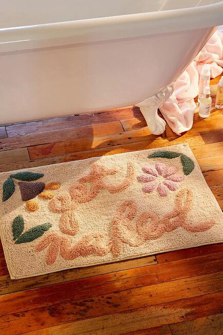 Urban Outfitters - White Get Naked Floral Bath Mat