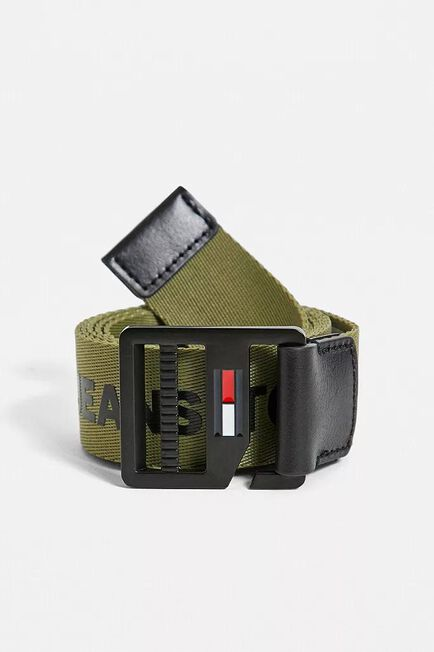 Urban Outfitters - Moss Tommy Jeans Logo Tape D-Ring Olive Belt