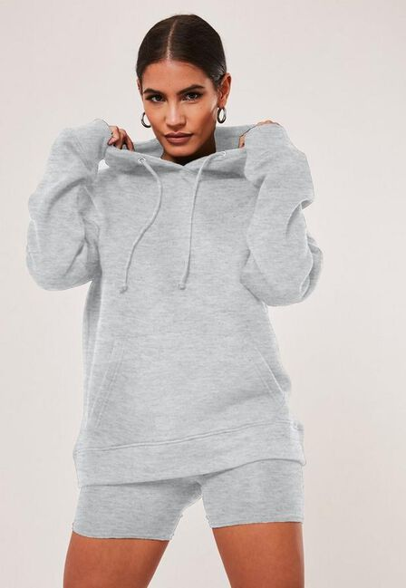 Missguided - Grey Hoodie And Cycling Shorts Co Ord Set