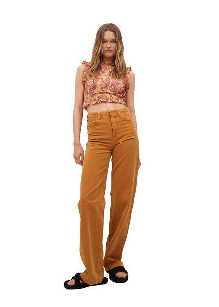 Mango - Yellow Ruched Cotton Top, Women