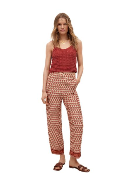 Mango - red Knitted cropped top, Women