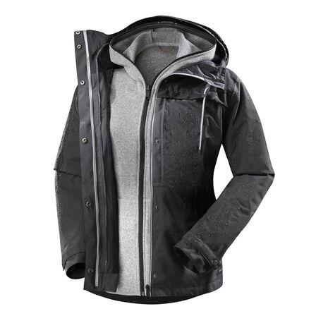 FORCLAZ - Large  Women's 3 in 1 trekking travel jacket TRAVEL 100, Carbon Grey