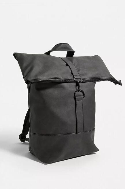Urban Outfitters - Grey UO Faux Leather Rolltop Backpack