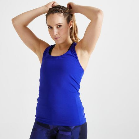 DOMYOS - XS Muscle Back Fitness Tank Top My Top - Blueberry