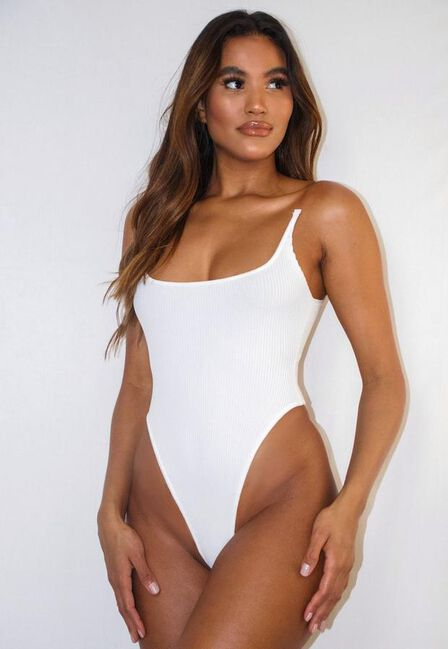 Missguided - White White Clear Strap Knitted High Leg Bodysuit
