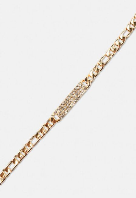 Missguided - Gold Gold Look Pave Bar Chain Bracelet