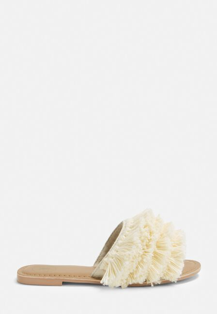Missguided - FRILL FRONT SANDAL, C ream