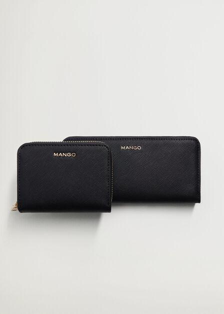 Mango - Black Saffiano-Effect Wallet, Women