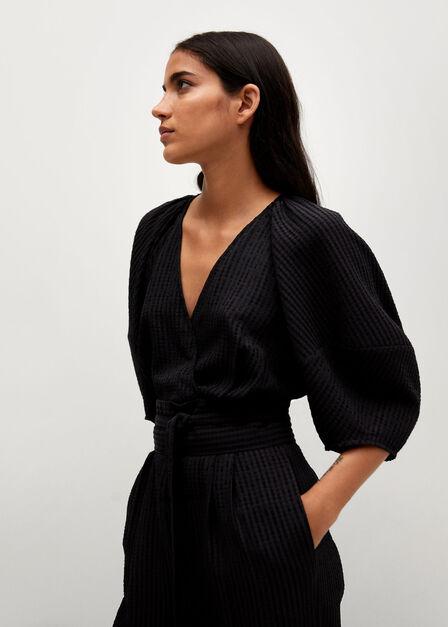 Mango - black Textured long jumpsuit