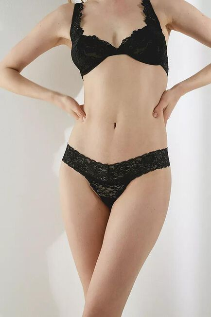 Urban Outfitters - Black Out From Under Zoe Lace Trim Thong