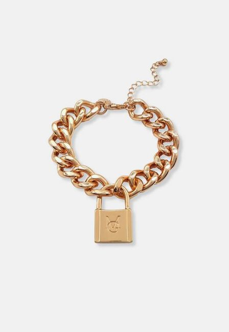 Missguided - Gold Look Missguided Lock Chain Bracelet