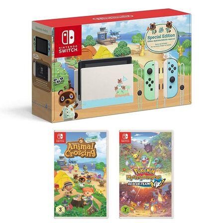 NINTENDO - Nintendo Switch Animal Crossing Console + Animal Crossing + Pokemon Mystery Dungeon Rescue Team DX
